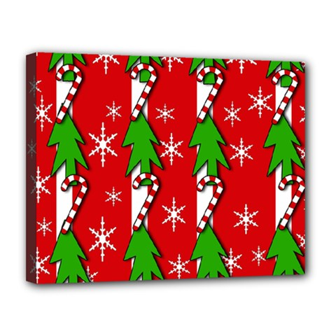 Christmas tree pattern - red Canvas 14  x 11