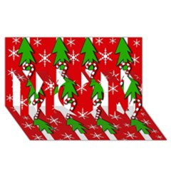 Christmas tree pattern - red MOM 3D Greeting Card (8x4)