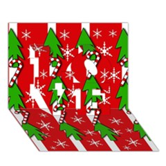 Christmas tree pattern - red LOVE 3D Greeting Card (7x5)