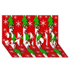 Christmas Tree Pattern   Red #1 Mom 3d Greeting Cards (8x4)