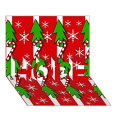 Christmas tree pattern - red HOPE 3D Greeting Card (7x5)