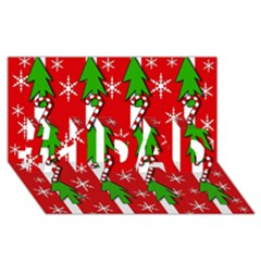 Christmas tree pattern - red #1 DAD 3D Greeting Card (8x4)