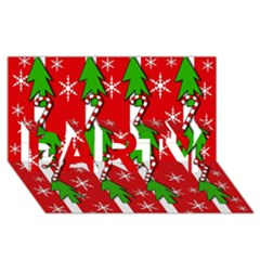 Christmas tree pattern - red PARTY 3D Greeting Card (8x4)