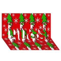 Christmas tree pattern - red HUGS 3D Greeting Card (8x4)