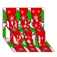 Christmas Tree Pattern   Red Miss You 3d Greeting Card (7x5)