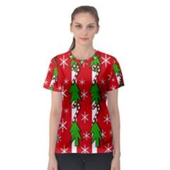 Christmas tree pattern - red Women s Sport Mesh Tee