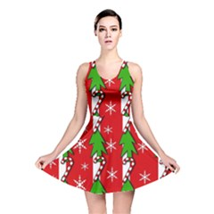 Christmas tree pattern - red Reversible Skater Dress