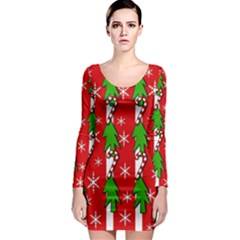 Christmas tree pattern - red Long Sleeve Bodycon Dress