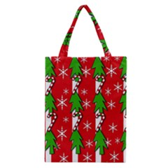 Christmas tree pattern - red Classic Tote Bag