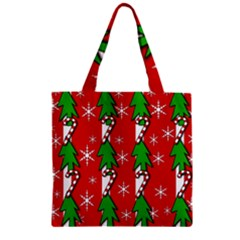 Christmas tree pattern - red Zipper Grocery Tote Bag