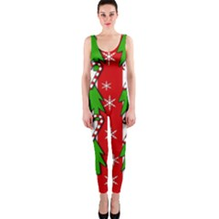 Christmas tree pattern - red OnePiece Catsuit