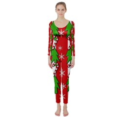 Christmas tree pattern - red Long Sleeve Catsuit
