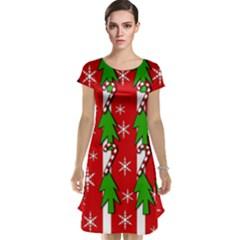 Christmas tree pattern - red Cap Sleeve Nightdress