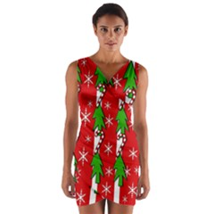 Christmas tree pattern - red Wrap Front Bodycon Dress