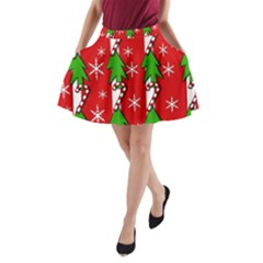 Christmas tree pattern - red A-Line Pocket Skirt