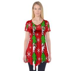 Christmas Tree Pattern   Red Short Sleeve Tunic