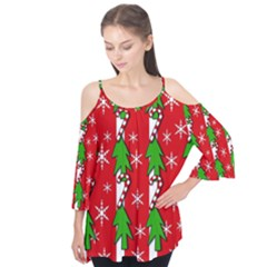 Christmas tree pattern - red Flutter Tees