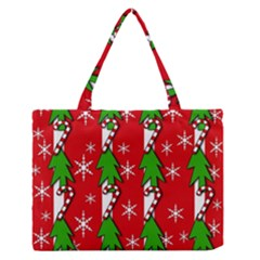 Christmas Tree Pattern   Red Medium Zipper Tote Bag