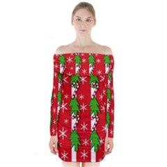 Christmas tree pattern - red Long Sleeve Off Shoulder Dress
