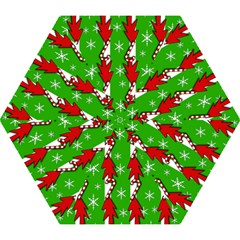Christmas pattern - green Mini Folding Umbrellas