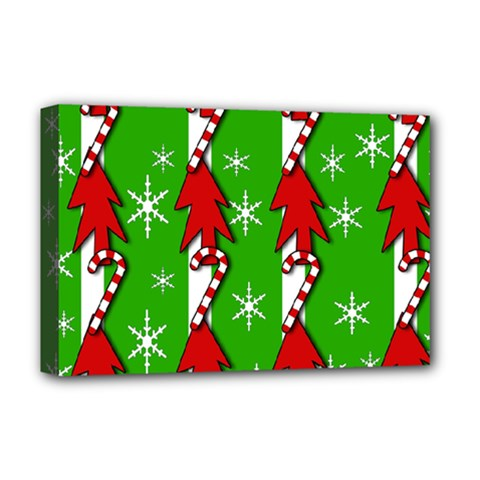 Christmas pattern - green Deluxe Canvas 18  x 12