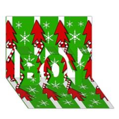 Christmas pattern - green BOY 3D Greeting Card (7x5)