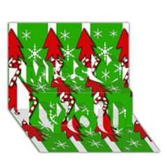 Christmas Pattern   Green Miss You 3d Greeting Card (7x5)