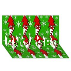 Christmas pattern - green ENGAGED 3D Greeting Card (8x4)