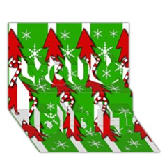 Christmas pattern - green You Did It 3D Greeting Card (7x5)