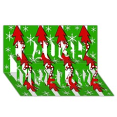 Christmas pattern - green Laugh Live Love 3D Greeting Card (8x4)