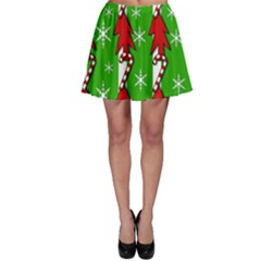Christmas pattern - green Skater Skirt