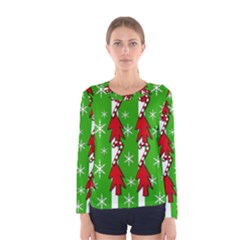 Christmas pattern - green Women s Long Sleeve Tee