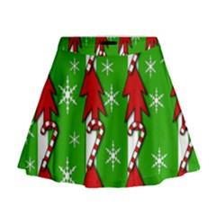 Christmas pattern - green Mini Flare Skirt