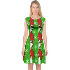 Christmas pattern - green Capsleeve Midi Dress