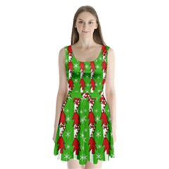Christmas Pattern   Green Split Back Mini Dress