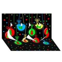 Christmas balls Twin Hearts 3D Greeting Card (8x4)