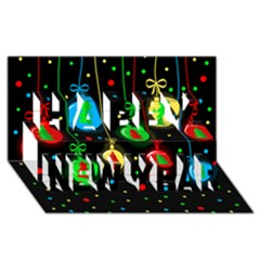 Christmas balls Happy New Year 3D Greeting Card (8x4)