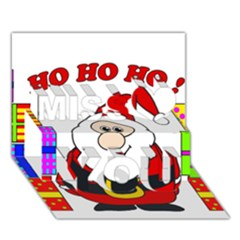 Santa Claus pattern - transparent Miss You 3D Greeting Card (7x5)