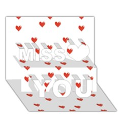 Cute Hearts Motif Pattern Miss You 3D Greeting Card (7x5)