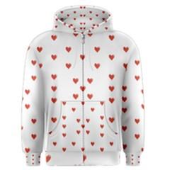Cute Hearts Motif Pattern Men s Zipper Hoodie