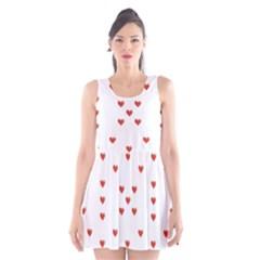 Cute Hearts Motif Pattern Scoop Neck Skater Dress