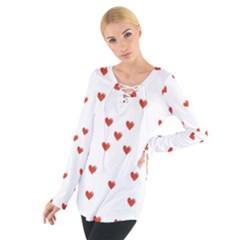 Cute Hearts Motif Pattern Women s Tie Up Tee