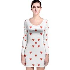 Cute Hearts Motif Pattern Long Sleeve Velvet Bodycon Dress