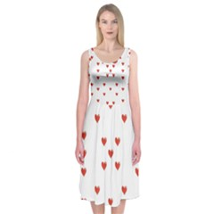 Cute Hearts Motif Pattern Midi Sleeveless Dress