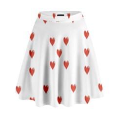 Cute Hearts Motif Pattern High Waist Skirt