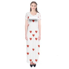 Cute Hearts Motif Pattern Short Sleeve Maxi Dress
