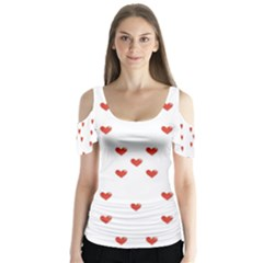 Cute Hearts Motif Pattern Butterfly Sleeve Cutout Tee