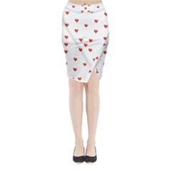 Cute Hearts Motif Pattern Midi Wrap Pencil Skirt