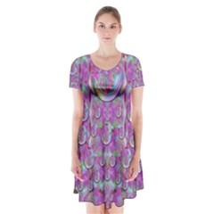 Paradise Of Wonderful Flowers In Eden Short Sleeve V-neck Flare Dress