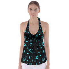 POTS Mermaid Print Babydoll Tankini Top